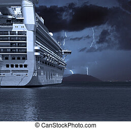 Cruise ship with lightning strikes in distance