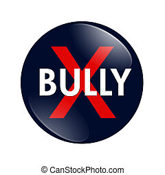 No Bully button - A blue, white and red button with word...