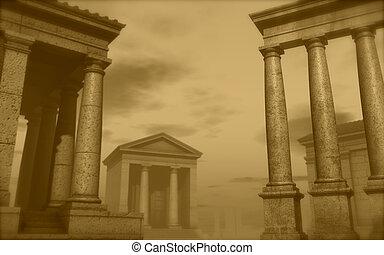 3d antique classical architecture roman monument render