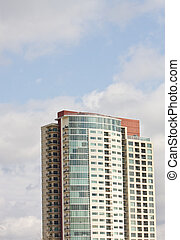 White Red and Blue Condo Tower - A luxury condo tower rising...