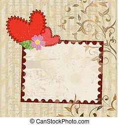 handmade valentine in background grunge