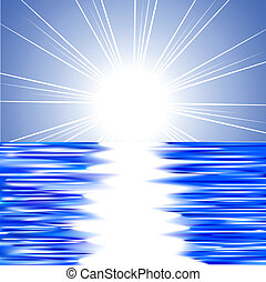 Sun and water - Beautiful summer background Vector...