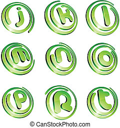 Green vibrant logo set. - .Set of 3d letter vector signs.