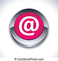 Arroba 3d button. - Arroba metallic 3d vibrant round icon.