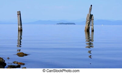 Lake Champlain - Beautiful tranquil shoreline of Lake...