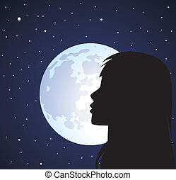 vector silhouette of girl's face