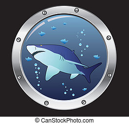 vector porthole and a shark