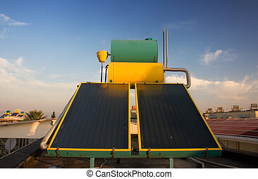 Hot water solar heating systems on rooftop