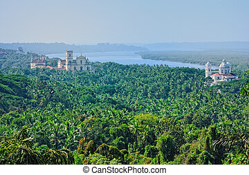 Old Goa - Panoramic view Old Goa for with majestic churches