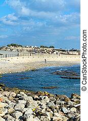 Caesarea?s National Park. Caesarea sea port, Israel.