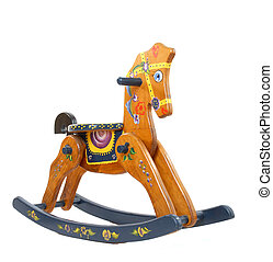 Wooden rocking horse - rocking horse isolated on white...