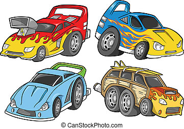 Street Car Racer Vector Design Set