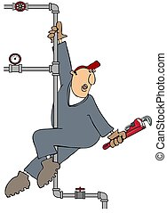 Plumber Pole Dance - This illustration depicts a plumber...