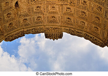 Roman Arch - Detail of the central soffit coffers Arch of...