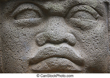 Olmec head - Closeup of giant statue of colossal Olmec head...