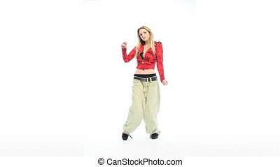 Hip Hop Dancing - Attractive blonde woman dressed in baggy...