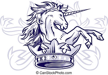 Unicorn Crown - Medieval style illustration of a unicorn and...