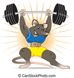 Gym Rat - A muscular rat with mp3 player lifting a barbell