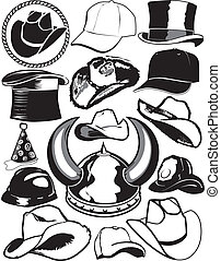 Hat Collection - Clip art collection of hats and helmets
