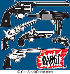 Hand Guns - Clip art of hand guns and pistols