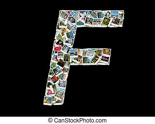 """F"" letter made of travel photos"
