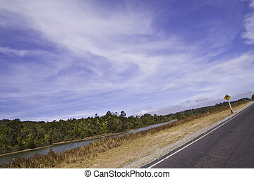The country road in the landscape of fresh blue sky