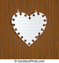 Paper heart on wooden background.Vector eps10