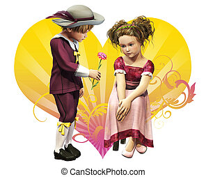 My First Valentine - a decorative picture with two children...