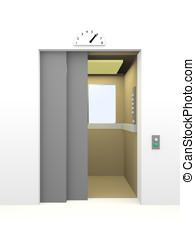 Elevator opening the door in 6th floor. 3d render