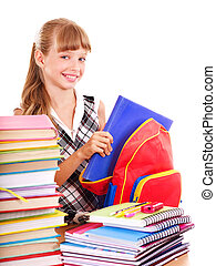 School child holding stack of books.  Isolated.