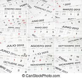 Spanish months calendar - Set of pictures with the names of...
