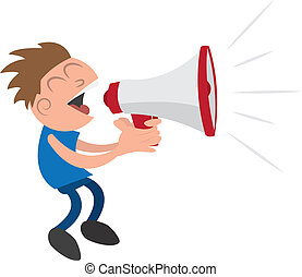 Guy with Megaphone - Guy yelling or screaming into a...