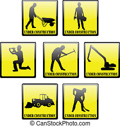 """under construction"" signs - vector"