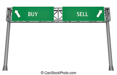 Buy or Sell - Highway signs BUY and SELL pointing in the...