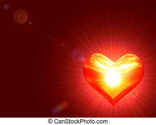 shining golden heart with rays of light over red background