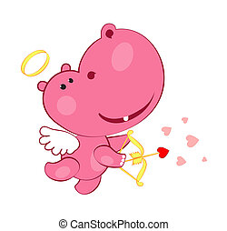 sweet cupid hippopotamus - cupid hippopotamus with bow and...
