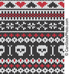 Knitted pattern with skulls - Seamless knitted pattern for...