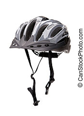 bicicleta, casco, con, Correas