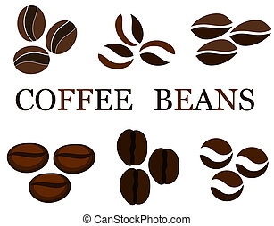 Coffee beans various kinds in collection. Vector...
