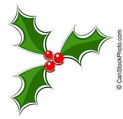 Holly icon - Holly berry decorattive icon Vector...