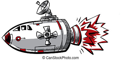 Spaceship - A cartoon spaceship with rocket exhaust pushing...