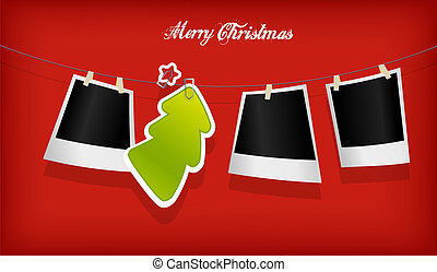 Hanging Christmas tree badge and photographs Vector art
