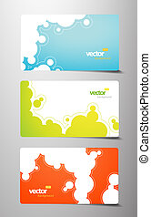 Set of gift cards with bubbles signs.