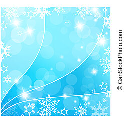 Christmas blue background with snow flakes.
