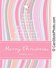 Abstract Christmas  background with colored stripes and tree.