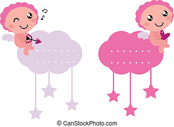 Little Cupid blank tags collection isolated on white - Angel...