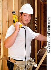 Power Tool - General Contractor Builder Using A Power Screw...