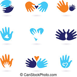 Hands and Love abstract icons collection isolated on white -...