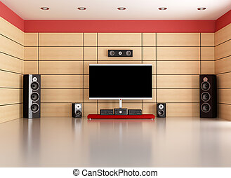 empty home cinema room - empty living room with home theater...