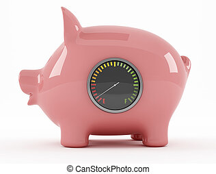 empty piggy bank with fuel gauge - rendering